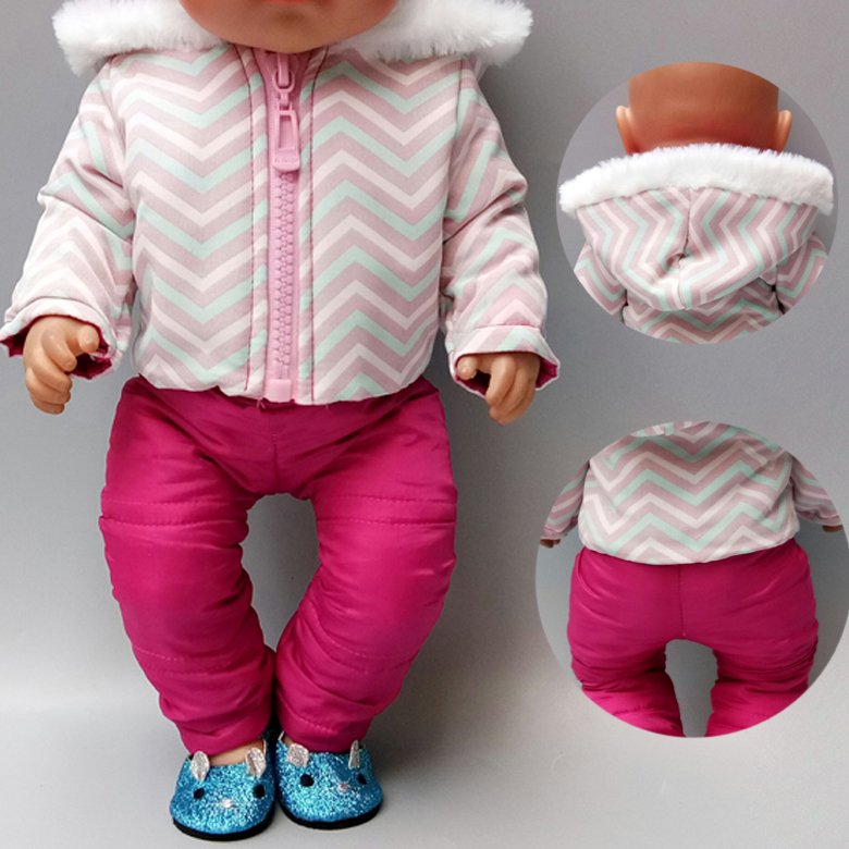 Baby New Born Doll Jacket Pants Set 18 Inch American Doll Clothes Winter Down Coat Sport Clothes For Dolls