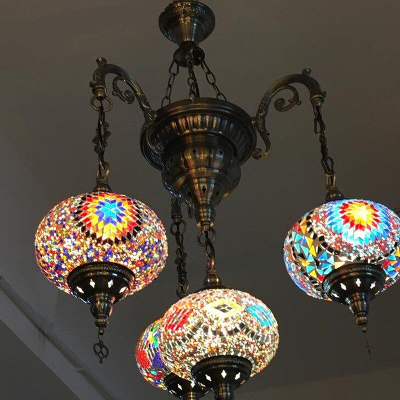 Этнические серьги Капельки Кулон с узором лампы витраж марокканский подвесной светильник коридор лестница кафе ресторан Подвесная лампа - 5