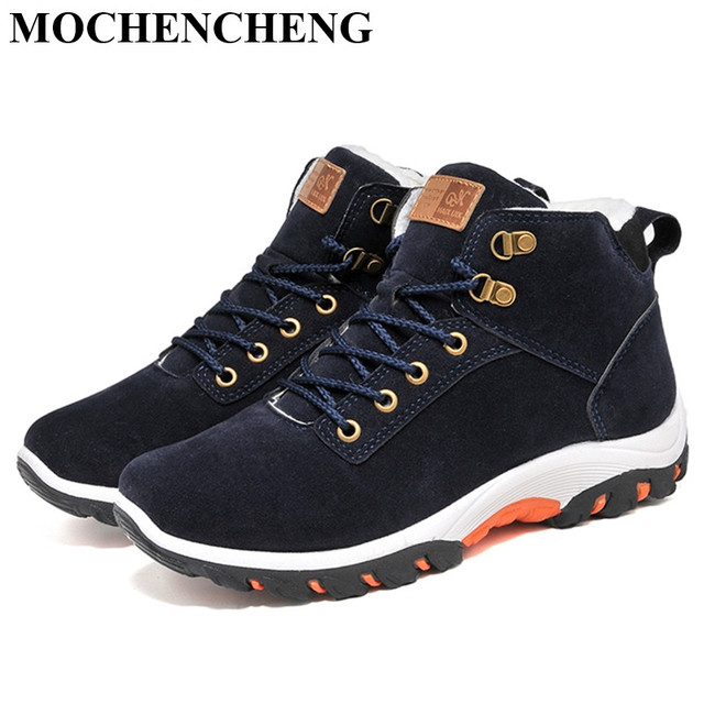 Men Snow Boots Winter Cotton Shoes with fur Lace-up Sneakers Warm Fleeces Ankle Boots High Flat Casual Shoes Solid Anti-skid 1