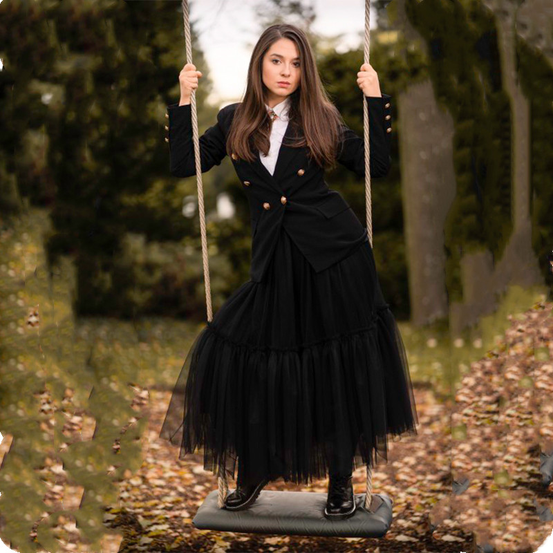 Maxi Long 90cm Tulle Skirt Steampunk Black Gothic Pleated Tutu Skirts Womens Vintage Petticoat Lange Rok Jupes Falda