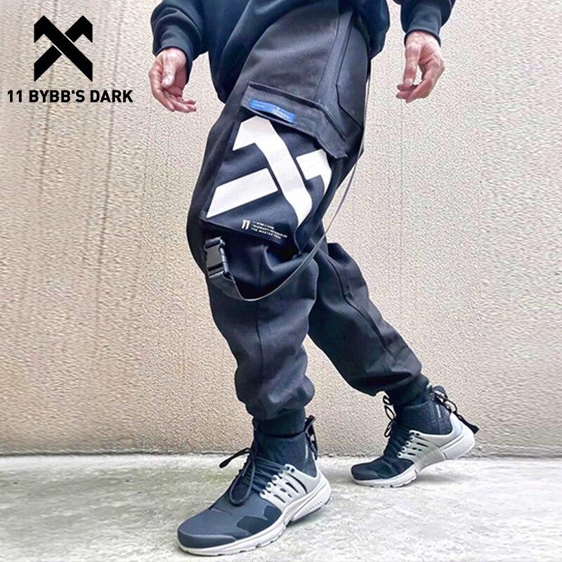 11 BYBB'S DARK Multi Pockets Cargo Pants Men Harajuku Hip Hop Casual Ribbons Trousers Streetwear Joggers Sweatpants Harem Pants
