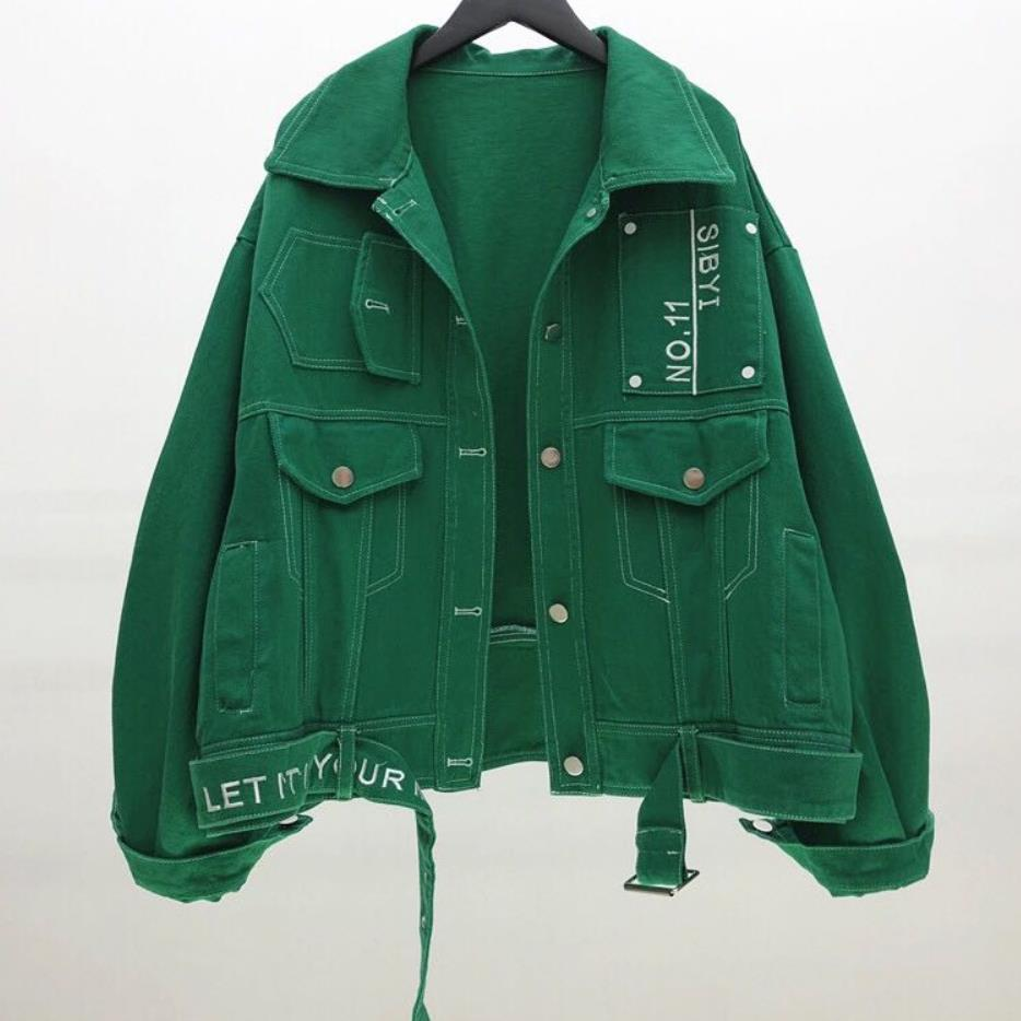 2019 auutmn lâche denim veste femmes bf style col rabattu vintage jeans manteau
