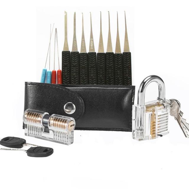 2 قطعة مجموعة قفل فتاحة شفافة مع 15 قطعة أدوات حقيبة سوداء ، 12 قطعة مفتاح كسر إزالة أدوات اختيار ، قفل التدريب مجموعة
