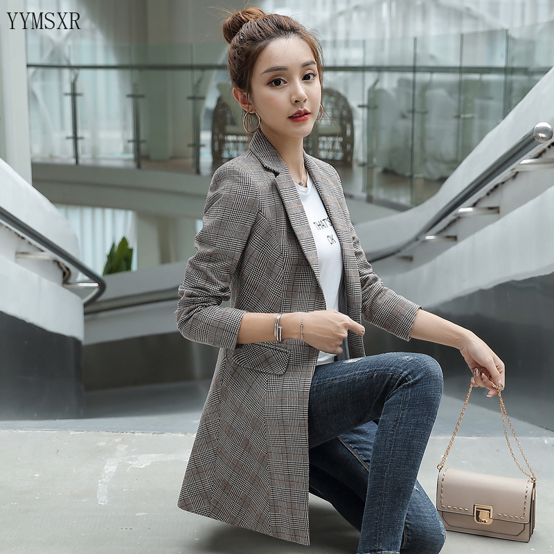 Women's mid-length jacket 2020 new spring and autumn casual plaid long-sleeved ladies blazer Fashion high quality small suit