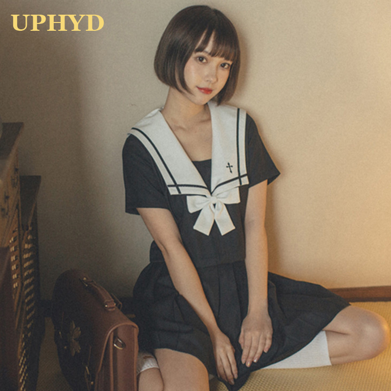 UPHYD New Arrival Sailor Uniform Cosplay Sets JK School Uniforms For Girls White Collar Shirt And Black Skirt Suits Student Clot