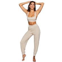 Fitness Knit Rib Tracksuit Women Summer 2020 Sexy Vest Backless Crop Top with Ha