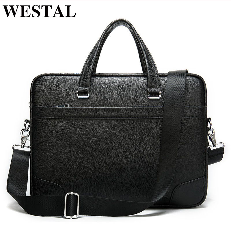 WESTAL Men Briefcase Laptop Bag Leather Men's Briefcases Genuine Leather Bag Men Office Bags For Men Business Computer Bags 9082