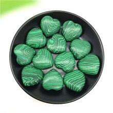 1/2 pces adorável malaquita coração em forma de pedra preciosa cristal cura chakra polido pedras decorativas e minerais