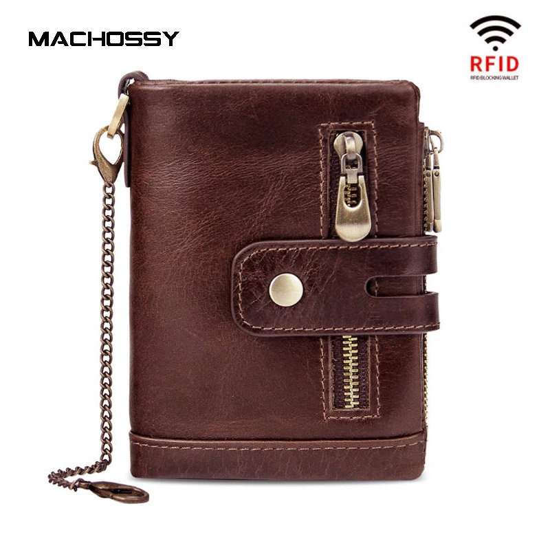 Portefeuille en cuir 100% véritable pour hommes, Protection RFID, porte-monnaie, petit porte-cartes, chaîne, poche, fermeture éclair