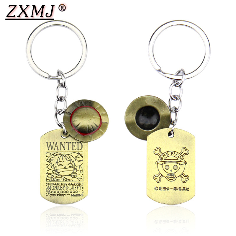 ZXMJ One Piece Luffy Straw Hat Keychain KeyRing Double Tag Square Letter WANTED Necklace & Pendant Car Key Pendant For Fans Gift