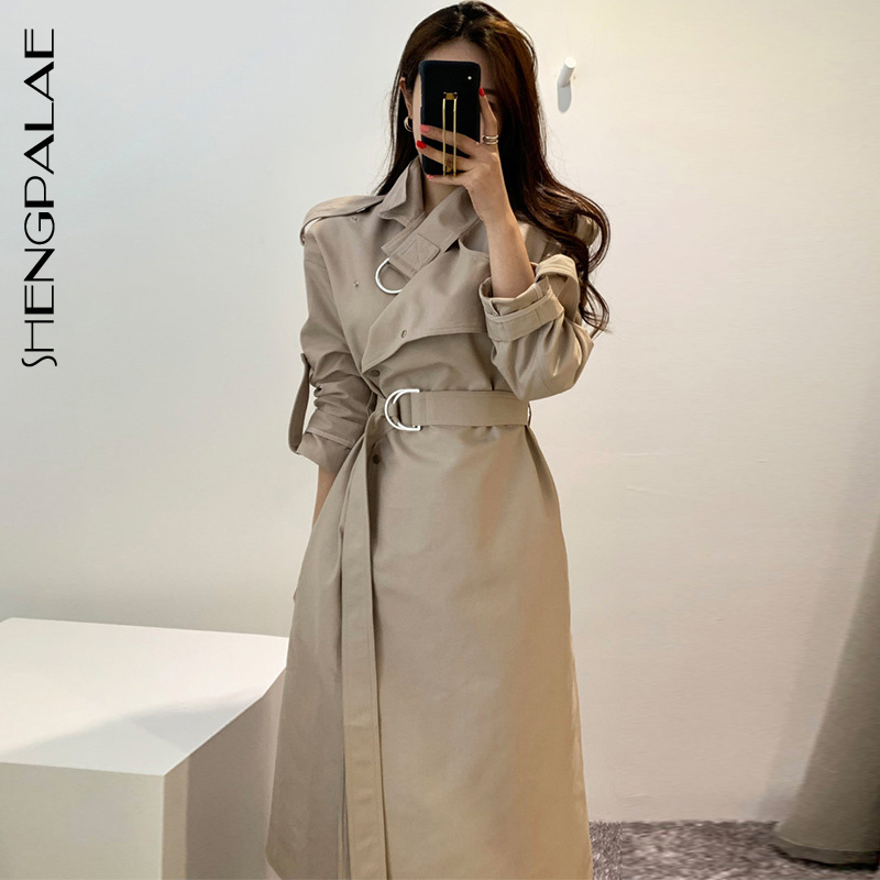 SHENGPALAE 2019 Winter Autumn Turn-down Collar Women Windbreaker Long Sleeve Loose Korean Fashion Women   Trench   Coat FT031