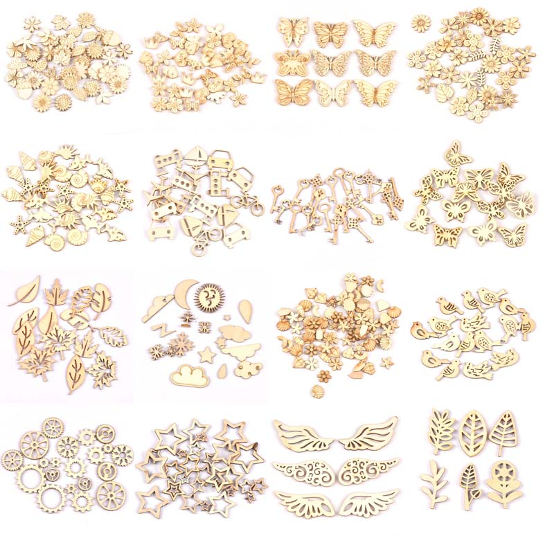 Mixed Leaf/animal/butterfly Chips Wooden Cutouts Craft Embellishments Scrapbooking Wood Art Wedding Decoration Mt2520