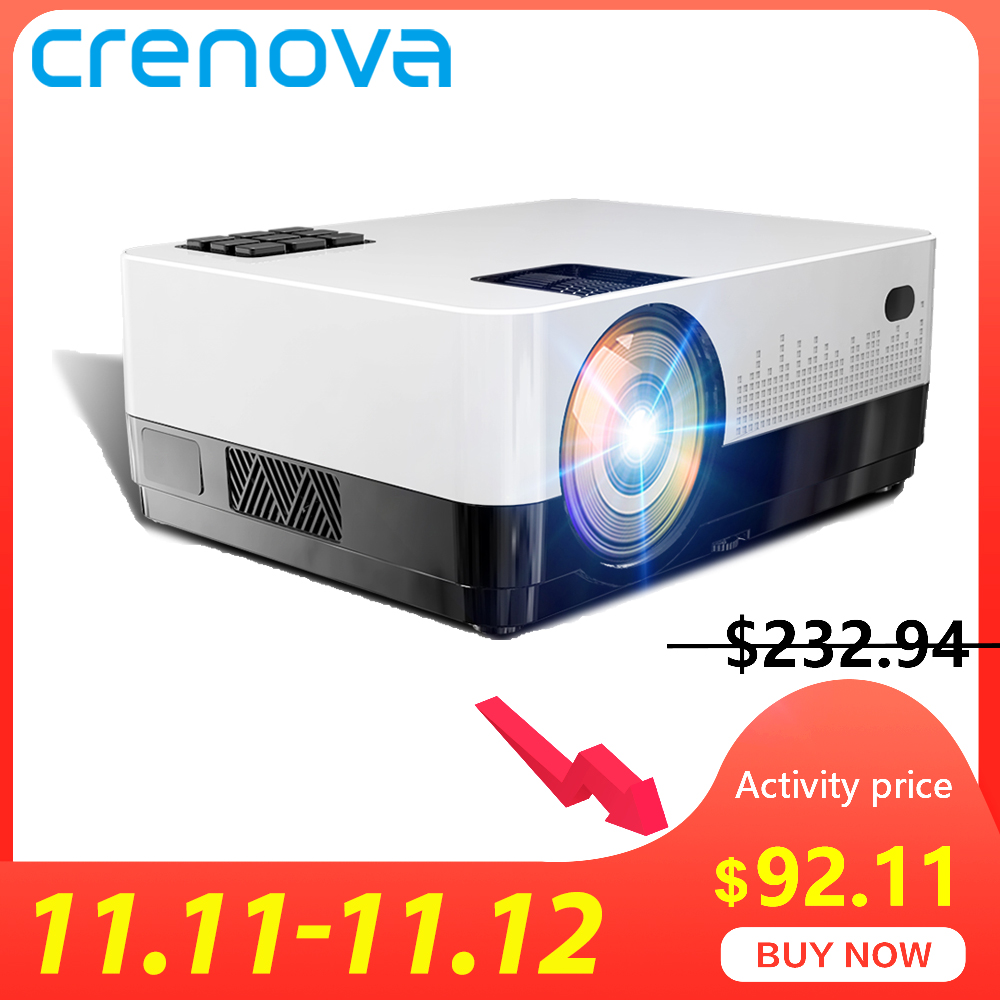 CRENOVA Newest Video Projector With Android 6.1OS 4300 Lumens WIFI Bluetooth HD 1280*728P Home Theater Movie Projector Beamer-in LCD Projectors from Consumer Electronics