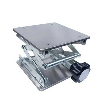 Stół podnoszony ze stali nierdzewnej grawerowanie drewna Lab podnoszenie wieszak stojący podnośnik 100x100mm laboratorium podnośnik platformy narzędzia tanie i dobre opinie lift table