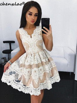 Elegant Homecoming Dress 2019 V-Neck Sleeveless Lace Appliques Short Party Dress Mini Homecoming Dresses фото