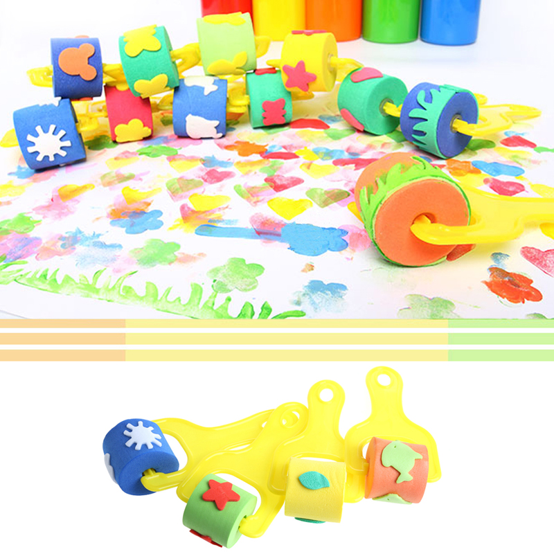 4Pcs Sponge Roller Stamper Foam Paint Crafts Stamps Kids Children EVA Toys DIY