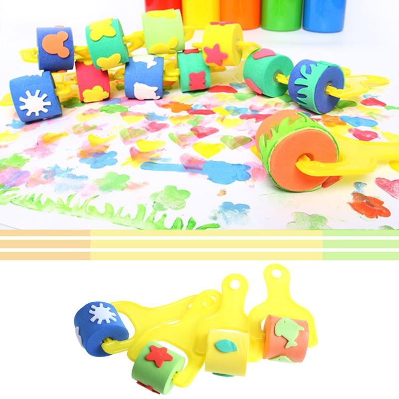 4Pcs Sponge Roller Stamper Foam Paint Crafts Stamps Kids Children EVA Toys DIY