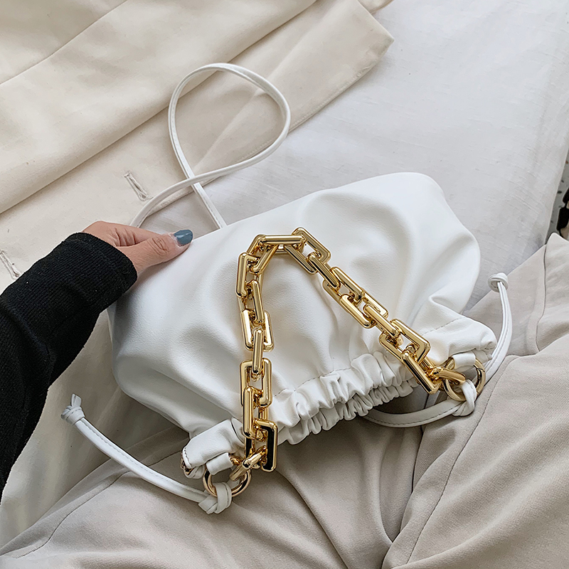 Gold Chain PU Leather Crossbody Bags For Women 2020 Summer Small Cloud Shoulder Handbags Female Solid Color Cross Body Bag