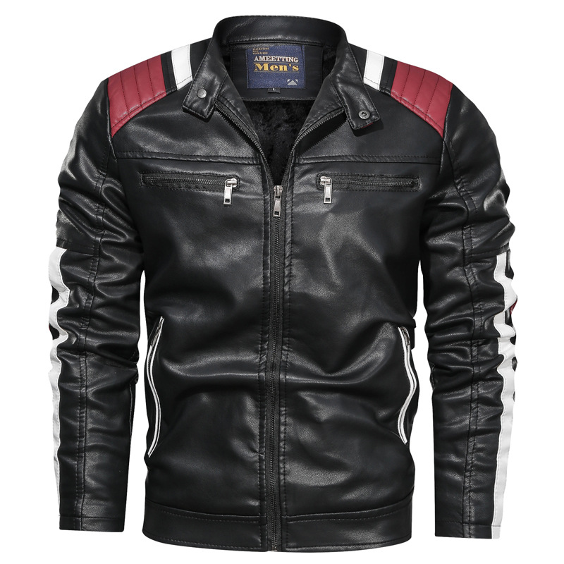 Mixed Colors Casual MEN'S Leather Coat Casual Trend Stand Collar Spring And Autumn Leather Jacket Youth Outside