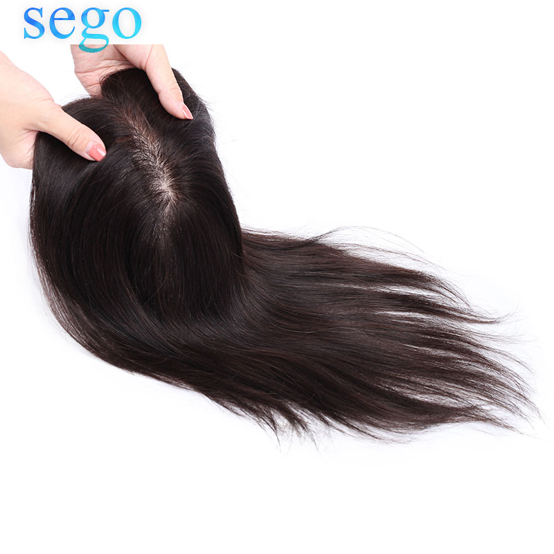 SEGO 6x13 15x16cm 12'' Non-Remy Silk Base Topper Toupee For Women Hair Piece Clip In Hair Extensions Brazilian 100% Human Hair