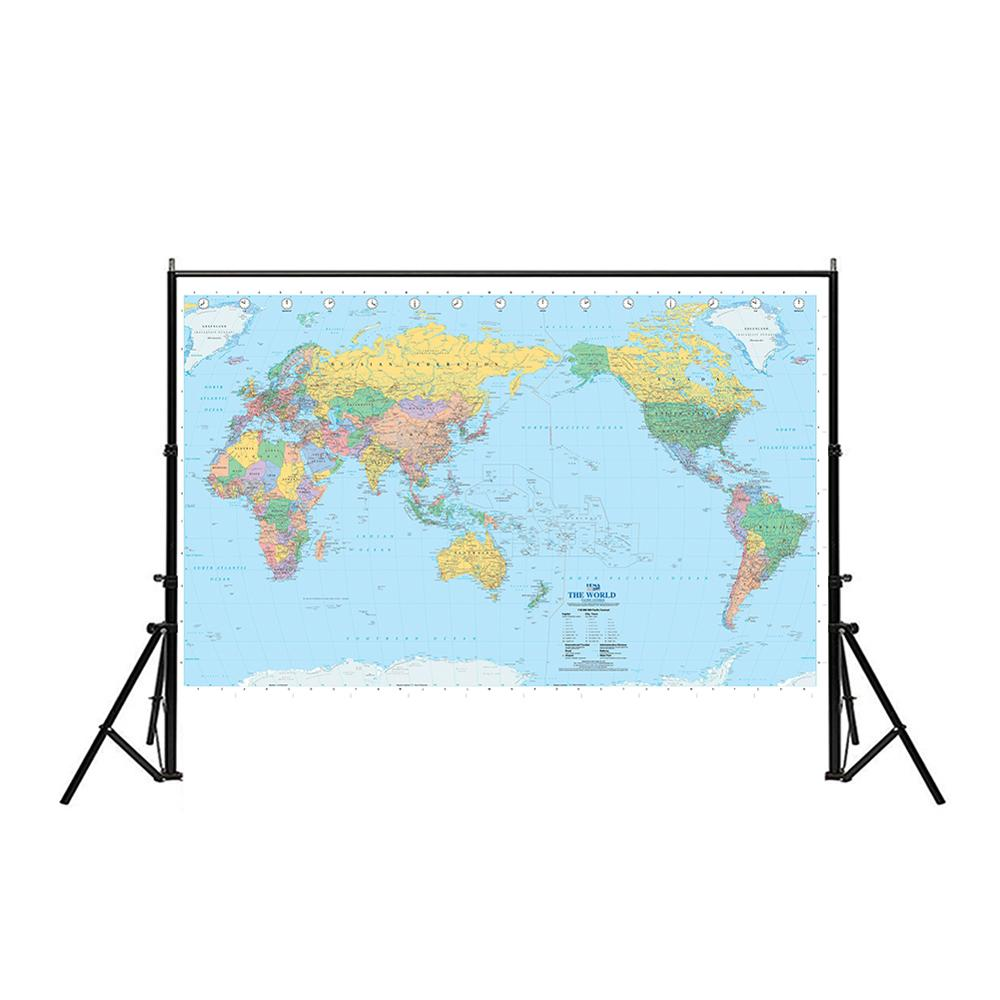 The World Map Pacifac Centred Without National Flag 150x100cm Non-woven Waterproof World Map For Culture And Education