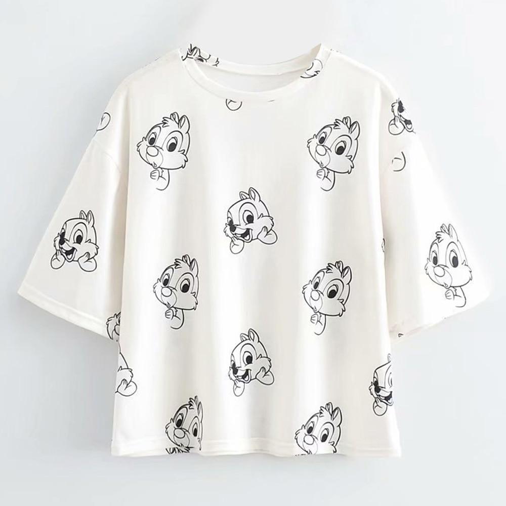 Disney Family T-Shirt Fashion Winnie the Pooh Mickey Mouse Stitch Fairy Dumbo SIMBA Cartoon Print Women T-Shirt Cotton Tee Tops 21