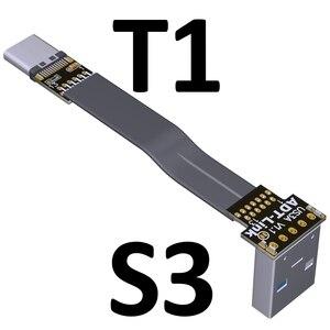 Image 3 - 3A USB 유형 C 90도 USB C 케이블 리본 플랫 각도 아래로 구즈넥 타입 USB 3.0 유형 C 고속 데이터 케이블