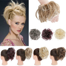 2020 NEW Synthetic Hair Ring Blonde Wrap Hair Extension Donut Curly Wig Pieces Wrap Rubber Band Hair Tail Ponytail Accessory(China)