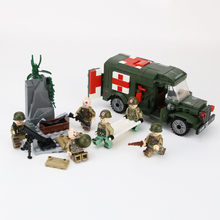 WW2 Military Soldiers US Army Figures Building Blocks Wounded soldier Ambulance Weapon Bricks Parts Toy