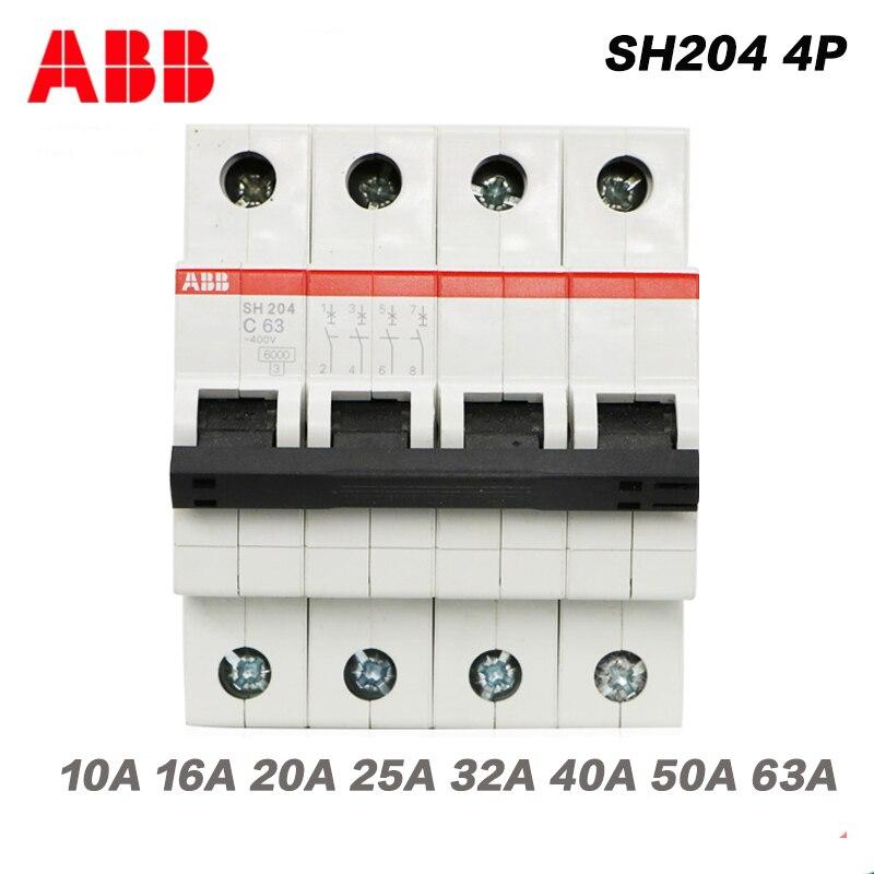 abb sh204 eletrica todas as series mcb diminuto disjuntor interruptor de ar 4 p c10a 16a