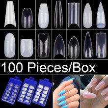 100 Pieces/Box Acrylic False Nail Tips Ballerina Fake Nail Tips 10 Sizes x 10 pcs Almond Oval Round Square Nail Tips