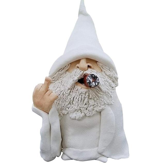 Funny Smoking Dwarf Garden Sculpture Ornaments Scornful Wizard Gnome Statue Indoor Outdoor Figurine for Home Yard Decoration 5