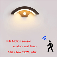 Lámpara de pared impermeable para exteriores, luz de pared con sensor de movimiento PIR, para jardín, porche, puerta frontal, cuerpo de aluminio negro