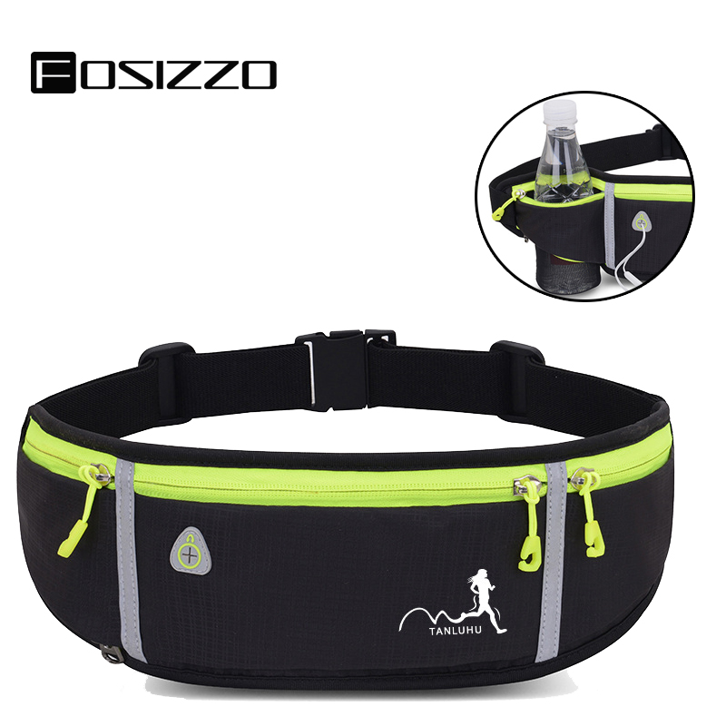 FOSIZZO Men's Banana Bag Running Belt Workout Runner Belt With Bottle Holder Earphone Holder Bum Bag Woman Men FS5027