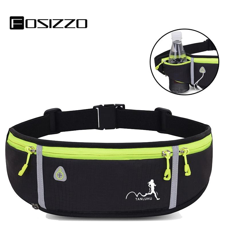 FOSIZZO Men's Banana Bag Running Belt Workout Runner Belt With Bottle Holder Earphone Holder Bum Bag Woman Men FS5027