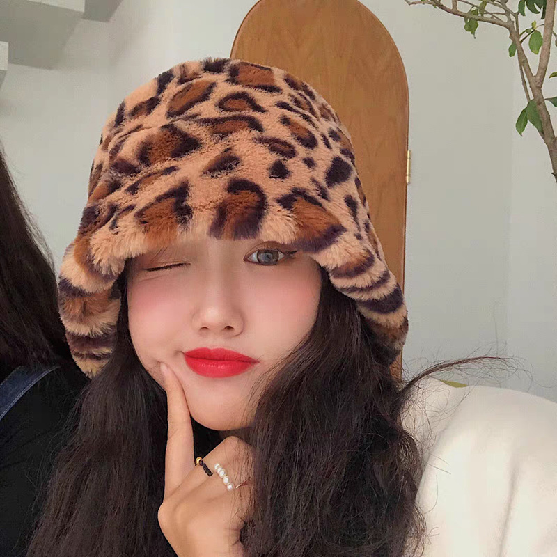 Autumn Winter Women Faux Rabbit Fur Leopard Bucket Hat Ladies Thick Warm Outdoor Travel Fisherman Hat Velvet Panama Girls Bob