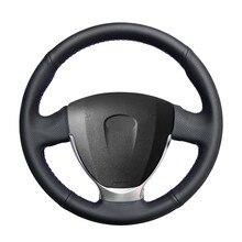 Capa de volante de carro de couro artificial do plutônio preto costurado à mão para lada granta 2018-2020 priora 2 2013-2017 2018 kalina 2
