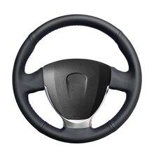 Housse de volant de voiture en cuir artificiel noir cousu main pour Lada Granta 2018 2020 Priora 2 2013 2017 2018 Kalina 2