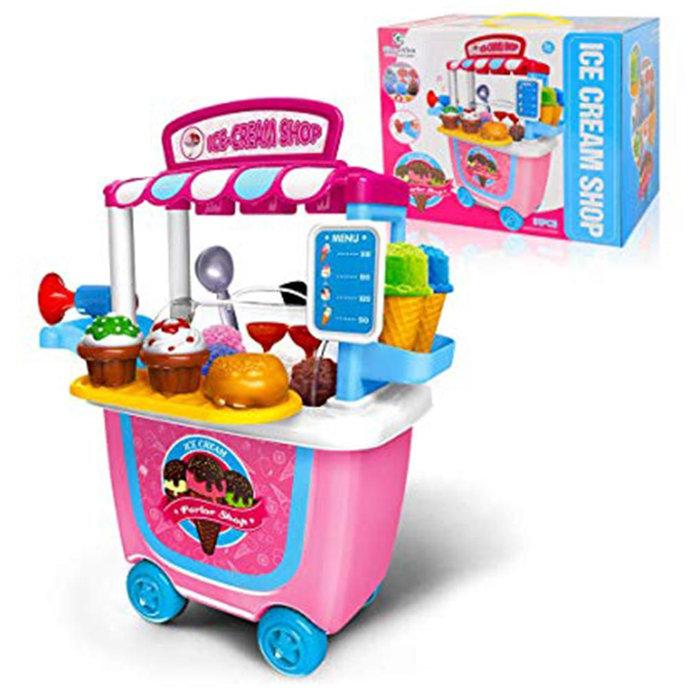31pcs DIY Kids Toy Children Role Play Toys Educational Toy Mini Candy Cart Detachable Ice Cream Shop Cart With Light And Music
