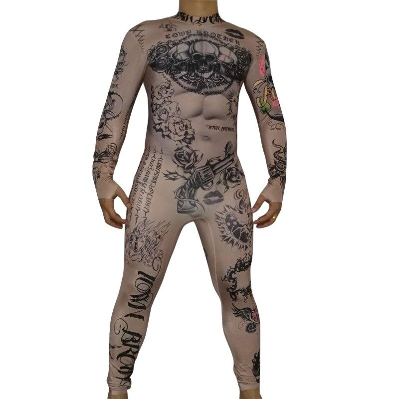 Bar discothèque homme DS Costume Muscle homme Halloween danse performance scène tenues nouveauté impression justaucorps stretch combinaison