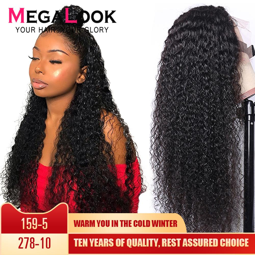 Kinky Curly Wig Human Hair Wigs Lace Closure Wig 4x4 Brazilian Hair Wigs For Black Women Remy Megalook Hair Curly Human Hair Wig