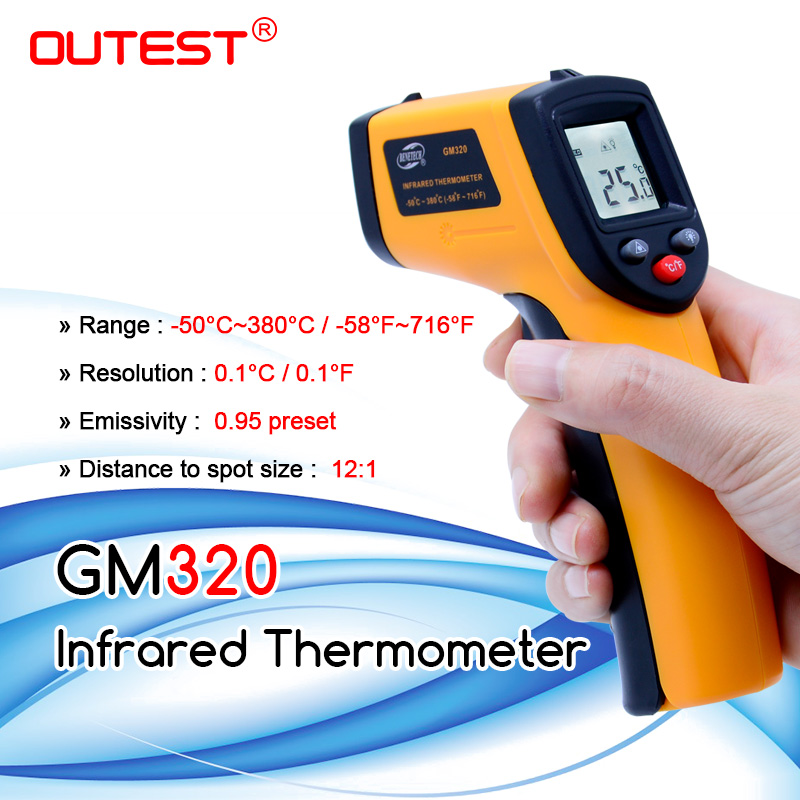 Infrared thermometer GM320 non contact Digital infrared  thermometer with laser  50~380 degree with blister packthermometer  networkthermometer ledthermometer batteries -