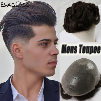 EVAGLOSS Men's Wig 0.06-0.08mm Thin PU Men Toupee Human Hair Pieces Unit Hair Replacement System Hair Prosthesis Male Wig bymc breathable men s hair toupee full pu 100% remy human hair pieces real hair replacement toupee for men wig natural looking