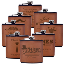Personalized Flask 6oz Leather Hip Flask Engrave Stainless Steel Flask Best Man