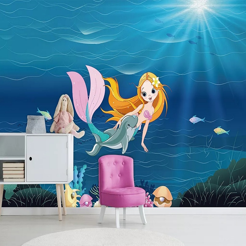 Custom Large Mural 3D Wallpaper Nordic Cartoon Creative Underwater Mermaid Bedroom Mural TV Back Wall Decor Deep 5D Embossed