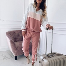 PUIMENTIUA Women Pink Patchwork Two Piece Set Outfit 2019 Autumn Hooded Jacket Ladies Joggers Loose Hoodies