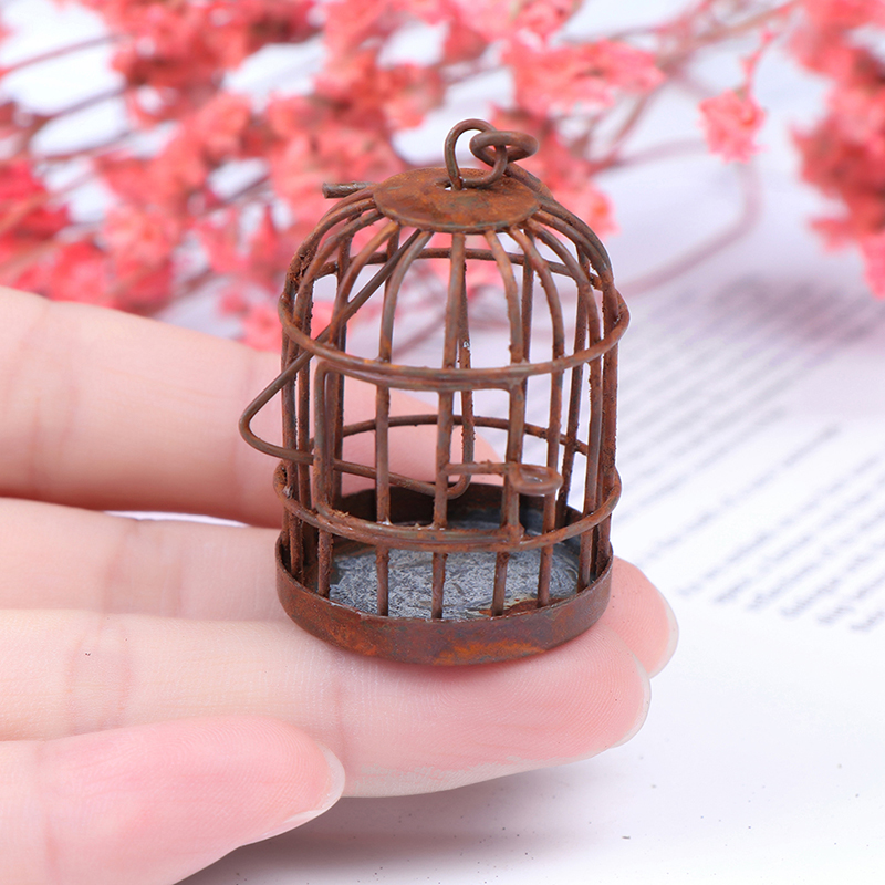 1pc New Arrival 1:12 Scale Metal Bird Cage With Bird Birdcage Dollhouse Miniature Gold Tone