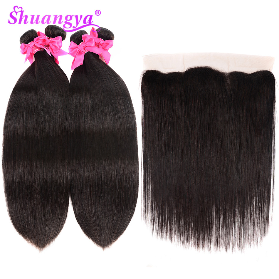 Shuangya Indian Hair Weave Bundles With Frontal Straight Lace Frontal With Bundles Remy Human Hair 3