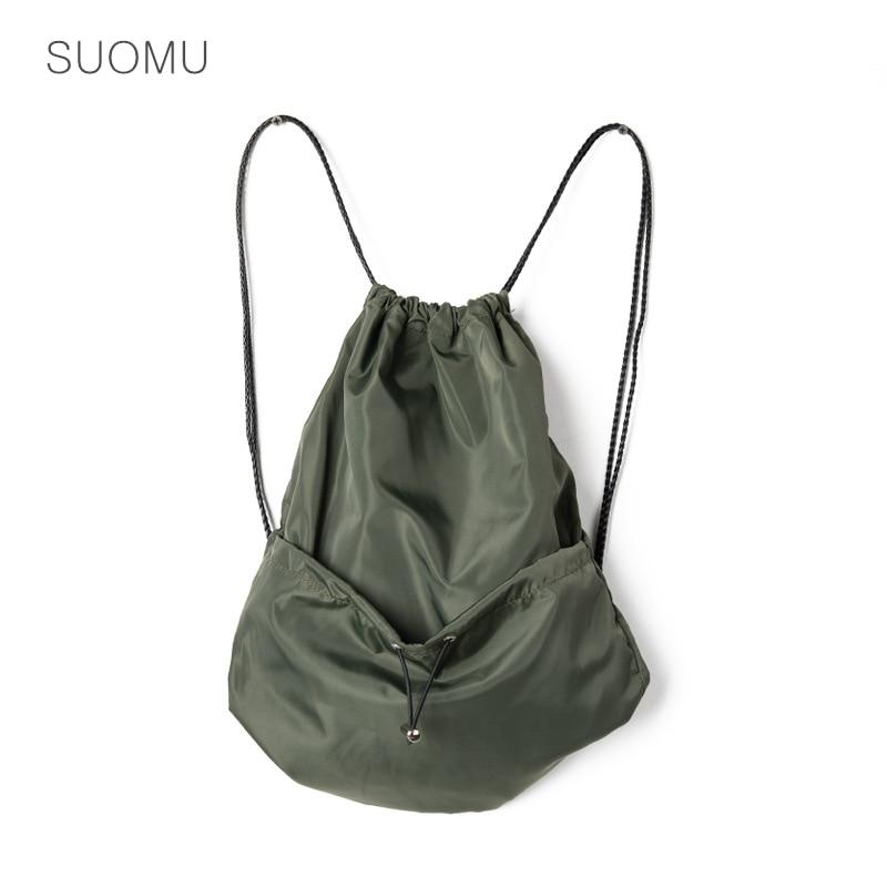 Waterproof Nylon Drawstring Shoulder Bag Women Simple Travel Backpack Bag Running Sports Storage Bag 2020 Summer New Green Black