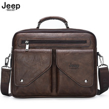 JEEP BULUO Brand Split leather Top-Handle Bags For Men Business Briefcase Men's Crossbody Shoulder Bag Men Messenger Bags Laptop